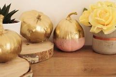 Gouden en roze gekleurde pompoenen Dalingsconcept Stock Afbeelding