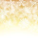 Gouden en witte sneeuwvlokachtergrond Stock Foto's