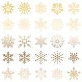 Gouden en witte sneeuwvlokachtergrond Stock Afbeeldingen