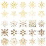 Gouden en witte sneeuwvlokachtergrond Stock Foto