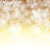 Gouden en witte sneeuwvlokachtergrond Stock Fotografie