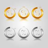 Gouden en zilveren cirkeldiagrammen Stock Afbeelding