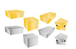 Gouden en zilveren dozen Stock Afbeelding