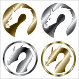 Gouden en zilveren draak royalty-vrije illustratie