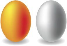 Gouden en zilveren eieren Stock Fotografie