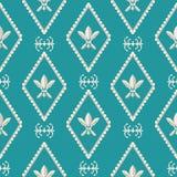 Gouden en zilveren Fleur de Lys-ontwerp Klassieke stijl met een modern draai Naadloos vectorpatroon op Caraïbisch blauw stock illustratie