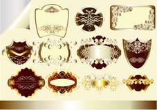 Gouden en zilveren frame vector geplaatste etiketten Stock Foto