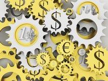 Gouden en zilveren geldmechanisme Stock Afbeeldingen