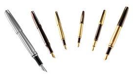 Gouden en zilveren geplaatste pennen Royalty-vrije Stock Afbeelding