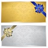 Gouden en zilveren giftbon Stock Afbeeldingen