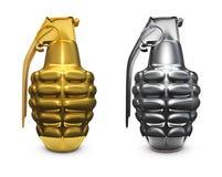 Gouden en zilveren granaat Stock Afbeelding