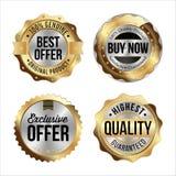 Gouden en Zilveren Kentekens Reeks van vier De beste Aanbieding, koopt nu, Exclusieve Aanbieding, Hoogste Kwaliteit Royalty-vrije Stock Afbeeldingen