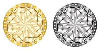 Gouden en zilveren knopen Stock Afbeelding