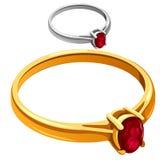 Gouden en zilveren ring met rode robijnrode, vectorjuwelen Royalty-vrije Stock Afbeelding