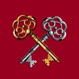 Gouden en zilveren sleutels Stock Foto's