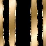 Gouden en zwart gescheurd document Malplaatjeachtergrond stock illustratie