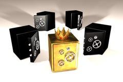 Gouden en zwarte brandkasten Royalty-vrije Stock Afbeelding