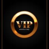 Gouden en zwarte vip etiket glanzende vectorillustratie Royalty-vrije Stock Afbeeldingen