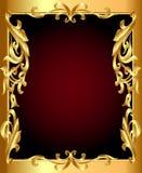 Gouden (Engels) frame met gouden (Engels) plantaardig ornament stock illustratie
