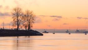 Gouden Engelse baai na zonsondergang Stock Foto