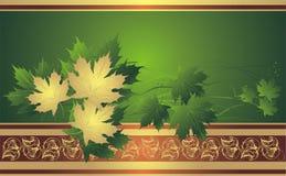 Gouden esdoornbladeren op de decoratieve achtergrond Royalty-vrije Stock Afbeeldingen