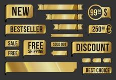 Gouden etiketten en linten Stock Foto's