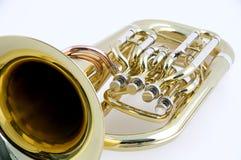 Gouden Euphonium dat op Witte Bk wordt geïsoleerda Stock Foto