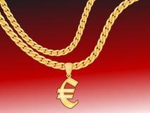 Gouden euro ketting Stock Foto's
