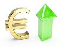 Gouden euro symbool en op pijlen Royalty-vrije Stock Afbeeldingen