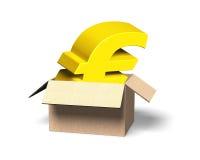 Gouden Euro symbool in geopende kartondoos, 3D illustratie Stock Foto