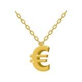 Gouden euro teken op ketting Decoratie voor tikkunstenaars Bijkomend o Royalty-vrije Stock Fotografie