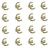 Gouden euro teken op witte achtergrond Stock Afbeeldingen