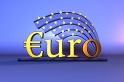 Gouden Euro tekst - muntteken Royalty-vrije Stock Afbeeldingen