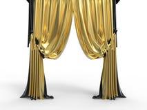 Gouden fluweelgordijnen royalty-vrije illustratie