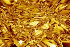 Gouden foliesamenvatting gerimpelde textuur Stock Afbeeldingen