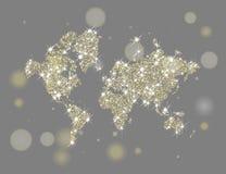 Gouden fonkelende wereldkaart Stock Foto's