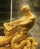 Gouden fontein in het Paleis van Peter Groot Stock Fotografie