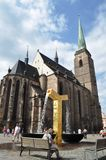 Gouden fontein in Pilsen Stock Foto's