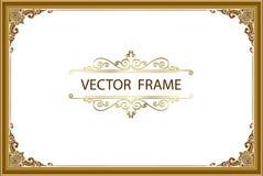 Gouden fotokader met de lijn van hoekthailand bloemen voor beeld, Vector het patroonstijl van de ontwerpdecoratie het ontwerp van vector illustratie