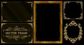Gouden fotokader met de lijn van hoekthailand bloemen voor beeld, Vector het patroonstijl van de ontwerpdecoratie het ontwerp van stock illustratie
