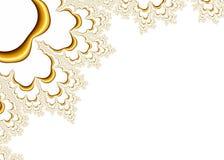 Gouden Fractal Patroon op Witte Achtergrond Stock Fotografie