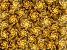 Gouden fractal rozen Stock Afbeeldingen