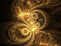 Gouden fractal uurwerk stock illustratie