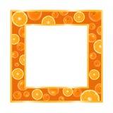 Gouden frame met sinaasappelen Royalty-vrije Stock Foto's
