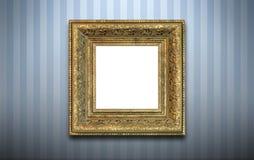 Gouden frame op de muur   Stock Fotografie