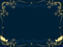 Gouden frame op een donkere bueachtergrond Royalty-vrije Stock Afbeelding