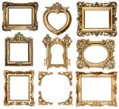 Gouden frames barokke stijl antieke voorwerpen Stock Afbeelding