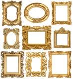Gouden frames Barokke uitstekende voorwerpen Antiek Beeld Royalty-vrije Stock Foto's