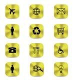 Gouden geïsoleerde knooppictogrammen royalty-vrije illustratie