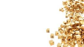 Gouden geïsoleerde kubussen Stock Foto's